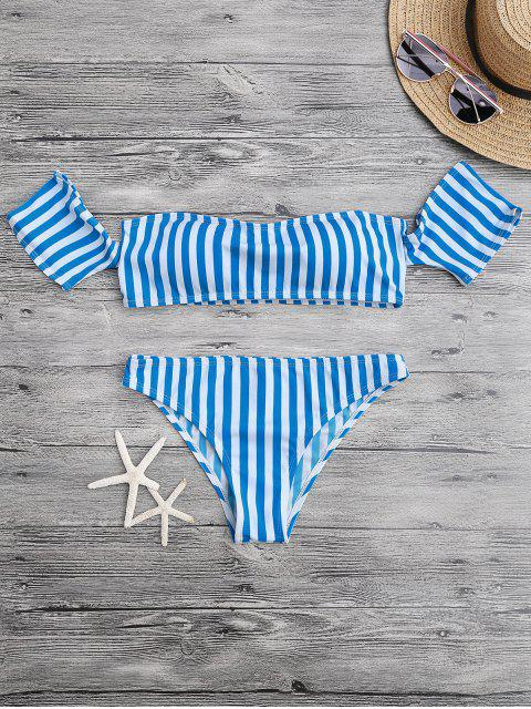 Acolchado fuera del conjunto de bikini hombro - Azul y Blanco L Mobile
