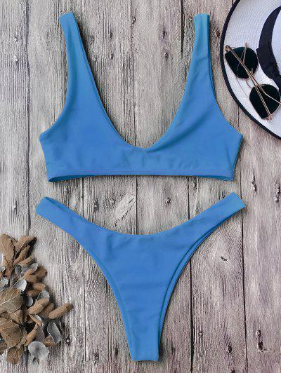 High Cut Scoop Bikini Set - Blue M