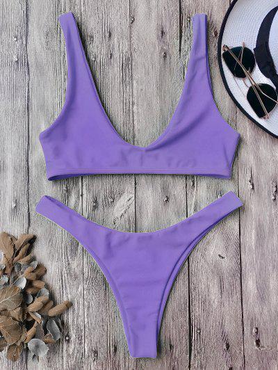 593aaccfc0 High Cut Bikini Set - Purple S