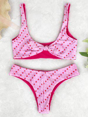 Ensemble De Bikini à Nœud Col Bas Imprimé Pois - Rose PÂle S