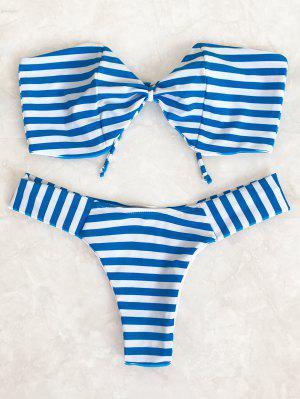 Ensemble De Bikini Bandeau Rayé Forme De Nœud Papillon - Bleu Et Blanc M