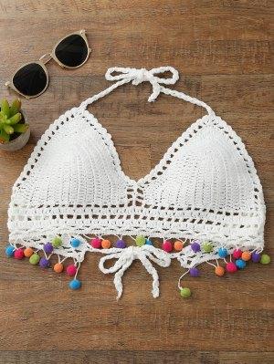 Top De Bikini En Crochet Bralette Pom - Blanc