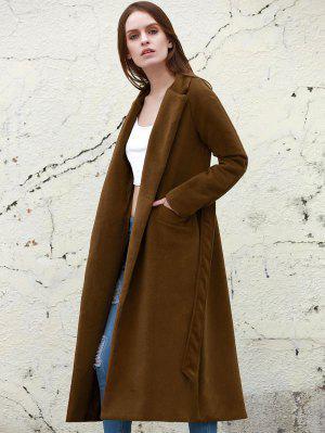 Lapel Solid Color Long Overcoat - Camel S