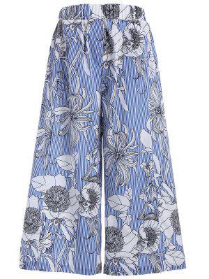 Pantalons larges à rayures florales