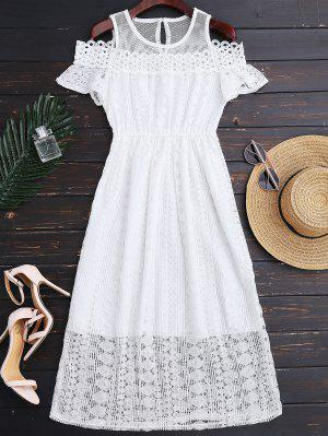 Cold Shoulder Midi Crochet Lace Dress