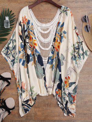 Floral Crochet Panel Kimono Cover Up