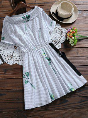 Floral Striped Dress With Belt - Light Blue M