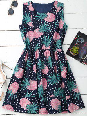 Polka Dot Pineapple Sleeveless Dress - Xl