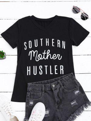 Camiseta Gráfica Con Cuello En V De Contraste - Negro S