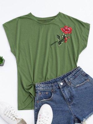 Algodón Floral Bordado Drapeado Superior - Verde L
