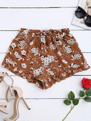 Drawstring Floral Ruffled Shorts