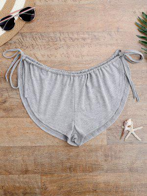 Side Tie Beach Cover Up Shorts - Gray