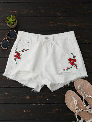 Embroidered Flower Ripped Hot Denim Shorts