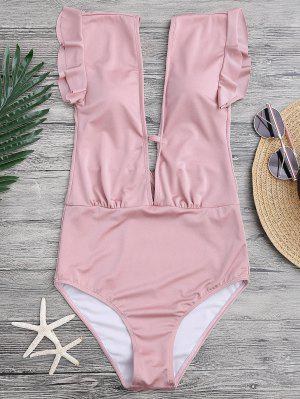 Frilled Plunge One Piece Swimsuit - Pink M
