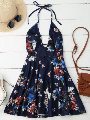 Robe Halter Plongeante Dos Nu Florale