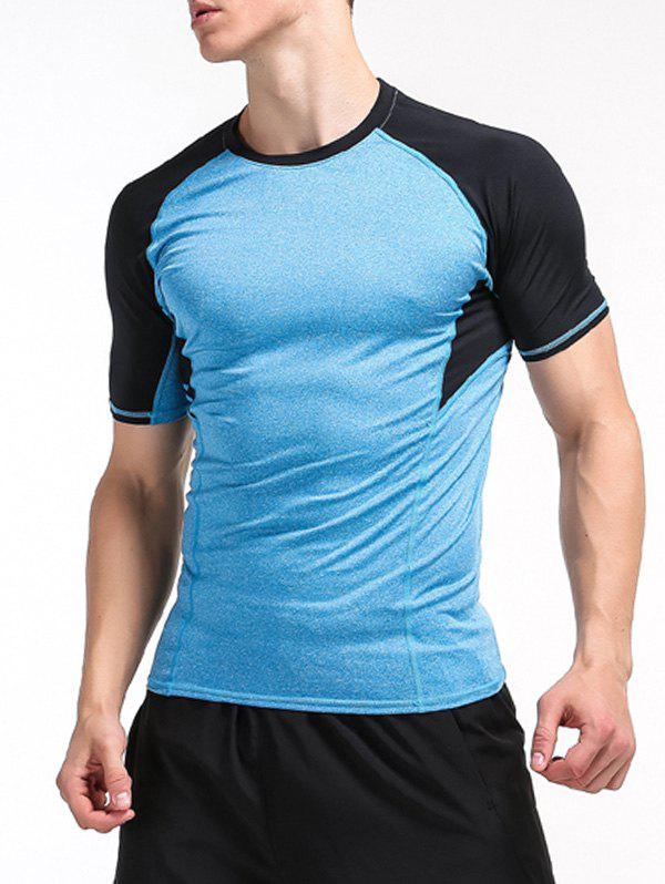 Raglan Sleeve Color Block Panel Stretchy Fitness T Shirt 212750609
