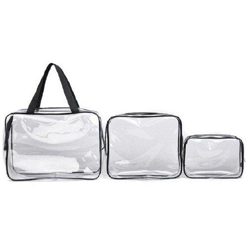 3 Pieces Transparent Toiletry Bag