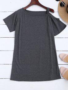 One Shoulder Longline T-Shirt - Deep Gray M