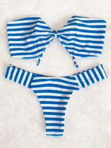 Striped Bow Bandeau Bikini Set - Blue And White S