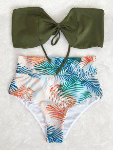 Ensemble De Bikini à Semelle Haute Bande Tropicale - Feuille S