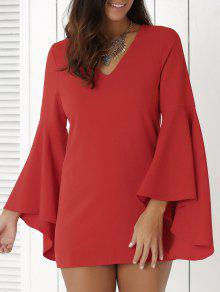 Solid Color Plunging Neck Flare Sleeve Sheath Sexy Mini Dress - Red S