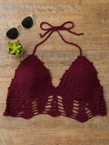 Halter Crochet Bralette Swim Top - Burgundy