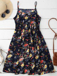 Cami Floral Smock Dress - Deep Blue L