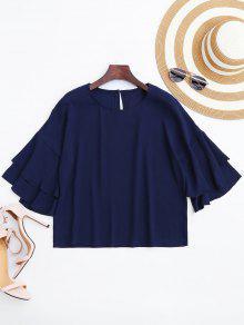 Loose Flare Sleeve Chiffon Blouse - Purplish Blue L