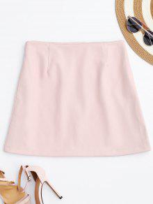 PU Leather Zip Up A-Line Skirt - Pink M