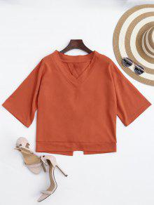 V Neck Cotton Bowknot Top - Orangepink