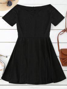 V Neck Skater Dress - Black S