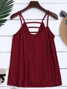 Ladder Cutout Trapeze Cami Top - Brick-red M
