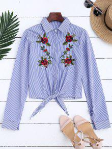 Floral Embroidered Tied Striped Shirt - Stripe Xl