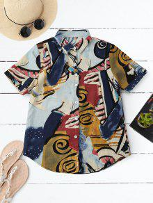 Graffiti Print Holiday Shirt - L