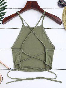 Back Crop Cross Verde Ejercito Top Up Lace S TqtwtpO
