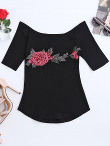 Embroidered Floral Boat Neck Ribbed Tee - Black S