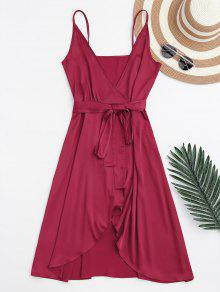 Spaghetti Straps Satin Belted Wrap Dress - Red M