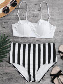 Ruffled Striped Underwire High Waisted Bikini - White S