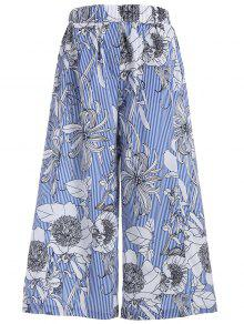 Floral Stripes Wide Leg Pants - M