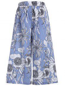 Pantalones Anchos De Las Rayas Florales De La Pierna - L