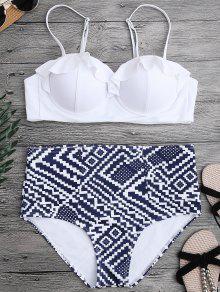 Ruffled Patterned Underwire High Waisted Bikini - White S