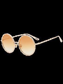 Buy Wavy Metallic Frame Leg Ombre Round Sunglasses - LIGHT YELLOW