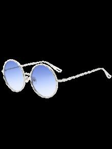 Buy Wavy Metallic Frame Leg Ombre Round Sunglasses - LIGHT BLUE