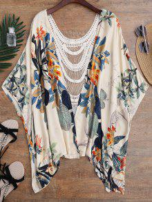 Floral Crochet Panel Kimono Cover Up