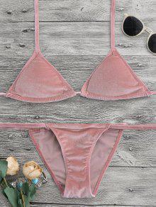 Halter Velvet Thong Bikini Set - Pink M