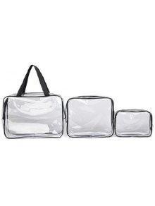 3 قطعة شفافة حقيبة الزينة - أسود