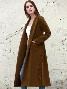 معطف طويلة و الياقة المنطوية ولون المعدن - جمل L