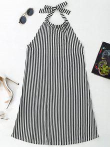 Halter Backless Striped Dress - Stripe M