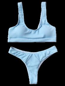 59% OFF  2019 Ribbed Midi Bralette Bikini Set In LIGHT BLUE S  ec7ec22004b0