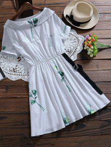 Vestido Floral A Rayas Con Cinturón - Azul Claro M